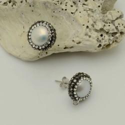 Perni orecchini con perle di fiume grigio chiaro torno strass marcasite 13 x 15 mm in ottone 1 coppia per fai da te