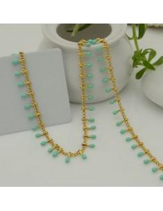 Catena in acciaio groumetta oro piatta forma gocce smaltato tiffany verde altezza 0.6 mm confezione 50 cm