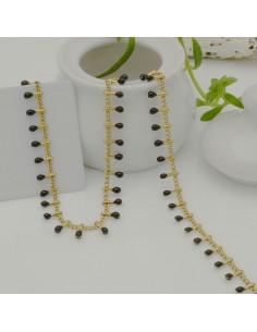 Catena in acciaio groumetta oro piatta forma gocce smaltato nero altezza 0.6 mm confezione 50 cm