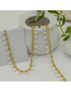 Catena in acciaio groumetta oro piatta forma gocce smaltato bianco altezza 0.6 mm confezione 50 cm