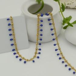 Catena in acciaio groumetta oro piatta forma gocce smaltato blu altezza 0.6 mm confezione 50 cm