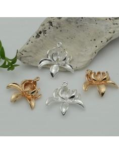 Connettori ciondoli forma Orchidea con anellini sopra e sotto in ottone 20 mm 1 pz per le tue creazioni
