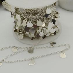 catene argento opaco con chams cuore 6 mm catena forma ovale 1.7 x 2.4 mm 1 mt in ottone per bigiotteria