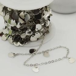 catene argento rodio con chams cuore 6 mm catena forma ovale 1.7 x 2.4 mm 1 mt in ottone per bigiotteria