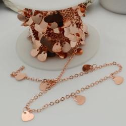 catene oro rosa con chams cuore 6 mm catena forma ovale 1.7 x 2.4 mm 1 mt in ottone per bigiotteria
