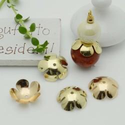 Copri perla a forma fiore 16 mm liscio luminoso in ottone 2 pz per le tue creazioni