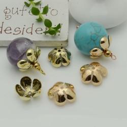 Copri perla a forma fiore 15 mm liscio luminoso in ottone 2 pz  per le tue creazioni