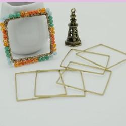 cerchio vuoto chiuso forma quadrato 40 mm in ottone naturale spessore 0.8 mm 5 pz per orecchini collana