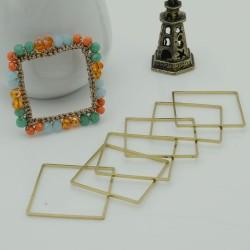 cerchio vuoto chiuso forma quadrato 25 mm in ottone naturale spessore 0.8 mm 6 pz per orecchini collana