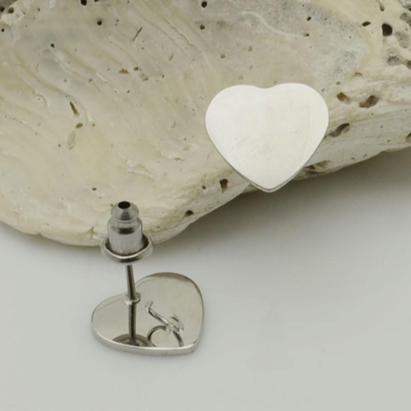 base Orecchini a perni forma cuore da Donna Acciaio inossidabile 10 mm per ciondoli per le tue creazioni