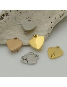 ciondoli Connettori forma cuore 10 mm in acciaio inossidabile anellini sopra e sotto liscio per bracciali e collana