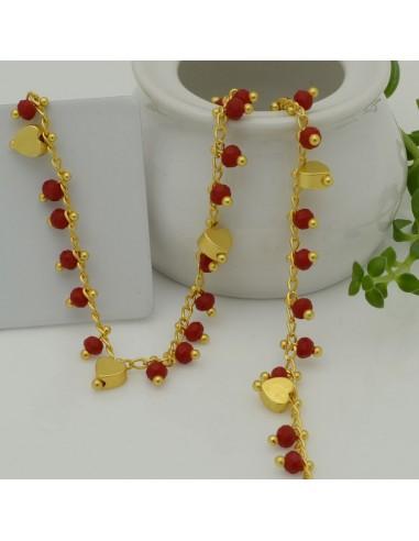 50 cm Catena Rosario con cristalli 4 mm rosso bordò e cuore base oro opaco in Ottone per bigiotteria