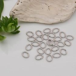 40 pz Anellini ovale aperti in acciaio filo 0.5 mm dimensione3x4 mm fai da te
