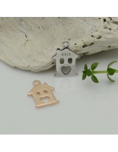 ciondolo casa argento 925 placato oro rosa 10 x 14 mm per decorare le tuo gioielli Made in Italy
