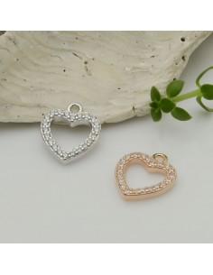 ciondolo cuore vuoto con zirconi in argento 925 placato 10x12 mm per decorare le tuo gioielli Made in Italy