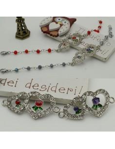 Connettori forma doppio cuore con strass e fiore 18 x 38 mm argento in metallo per bracciali per le tue creazioni