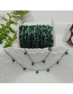 Catene in acciaio con zirconi anelli saldati ogni 2 cm Con charm Zirconi col Verde Smeraldo e Taglio Brillante 4 mm per 50 cm