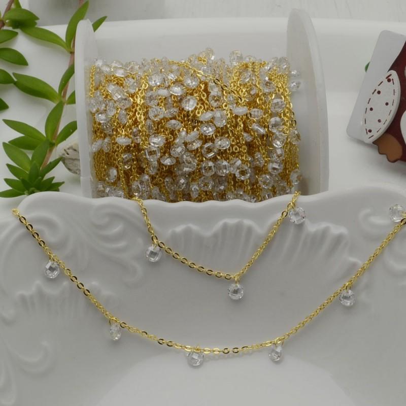 Catene in acciaio oro con zirconi anelli saldati ogni 2 cm Con charm Zirconi col trasparente Taglio Brillante 4 mm per 50 cm