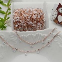 Catene in acciaio con zirconi anelli saldati oro rosa ogni 2 cm Con charm Zirconi col trasparente 50 cm