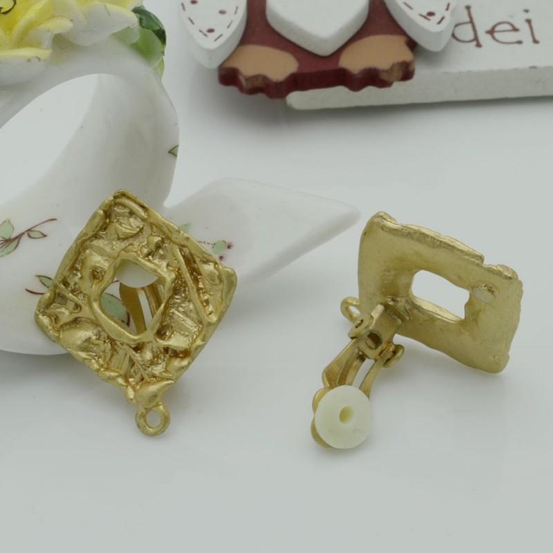 Base orecchini in Zama a Clip col oro 25 x 28 mm per orecchini