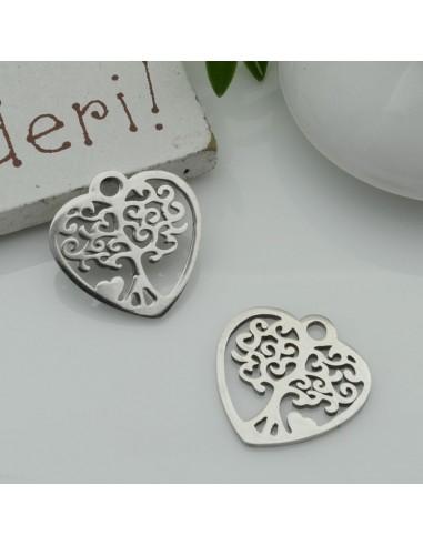 ciondolo forma cuore e Albero di vita in acciaio liscio 15 mm inossidabile per fai da te
