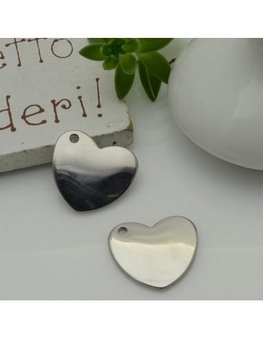 ciondolo forma cuore liscio con foro laterale 13 x 14 mm lucido inossidabile per fai da te