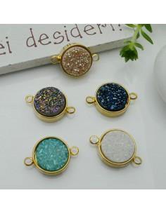 Connettori in ottone con pietre resina 11 x 17 mm col oro con 2 fori 1 pz per bracciali per le tue creazioni