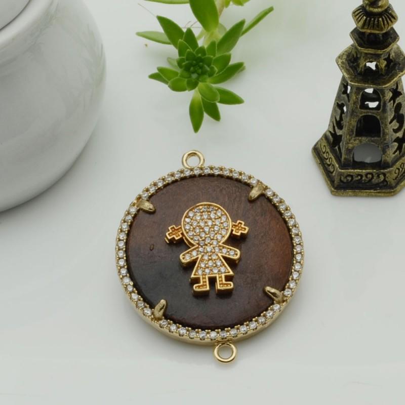 Elemento oro con due anelli zirconi bambina piastra legno antico ideare centro collana
