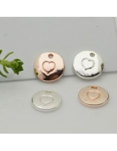 ciondolo forma di cuore piccolo liscio con foro 10 mm in ottone 2pz per gioielli fai da te
