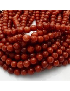 pietra dure agata tondo sfaccettata rosso corallo 8 mm 48 pz 39 cm per i tuoi gioielli