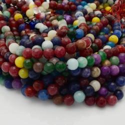 pietra dure agata tondo sfaccettata multicolor 8 mm 48 pz 39 cm per i tuoi gioielli