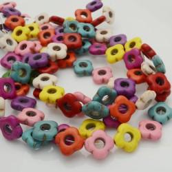 filo pietre Howlite tinti forma fiore 15 mm circa filo 40 cm per fai da te per i tuoi gioielli