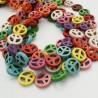 filo pietre Howlite tinti Simbolo della pace 15 mm circa filo 40 cm per fai da te per i tuoi gioielli