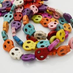 filo pietre Howlite tinti forma teschio 13 X 15 mm circa filo 40 cm per fai da te per i tuoi gioielli