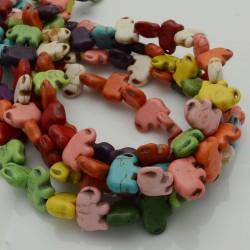 filo pietre Howlite tinti forma elefante 10 X 14 mm circa filo 40 cm per fai da te per i tuoi gioielli