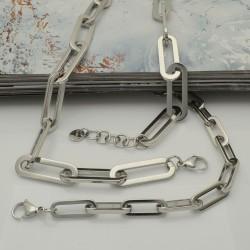 Collana e bracciale in acciaio argento con super maglia rettangolare lucido inossidabile