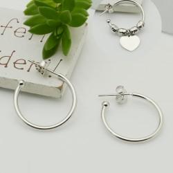 1 coppie Orecchini cerchietti in argento 925 cerchio 20 mm spessore 1.6 mm per le tue creazioni