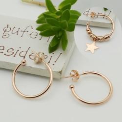 1 coppie Orecchini cerchietti in argento 925 oro rosa cerchio 20 mm spessore 1.6 mm per le tue creazioni