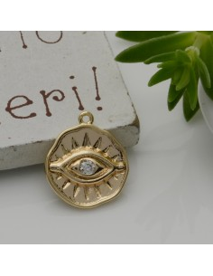 1 PZ Ciondolo a forma occhio oro con zirconi bianco 13 x 14 mm in rame per le tue creazioni