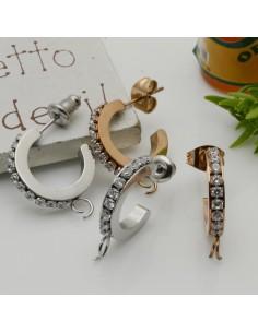 CERCHIETTI con strass col mix mini orecchini cerchio tonde chiuse 13 mm base argento per ciondoli