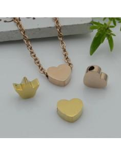distanziatore perline in acciaio inossidabile cuore e corona piatta foro 1.8 mm fai da te