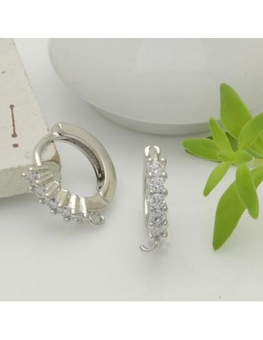Cerchietti con strass bianca con anellini tonde chiuse per ciondolo 12 mm par le tue creazione