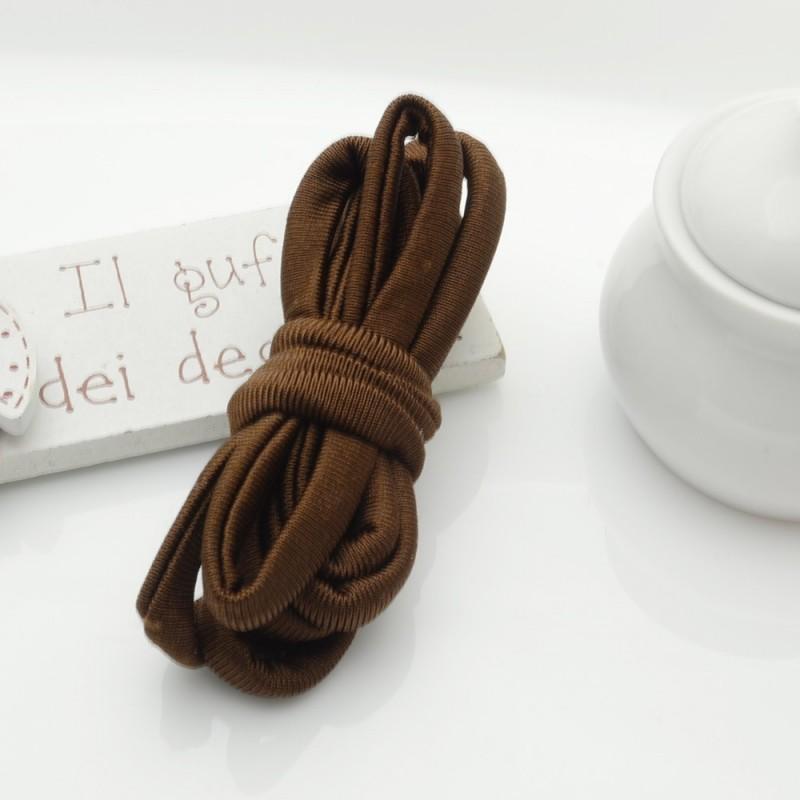 Fettuccia elastica tubolare elastica in Lycra colore marrone 1mt per bracciale collana
