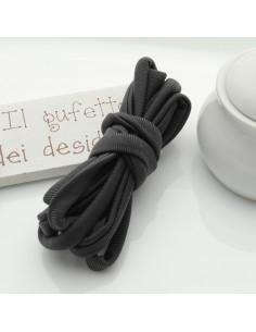 Fettuccia elastica tubolare elastica in Lycra colore grigio scuro 0.5 mm confezione 1 mt