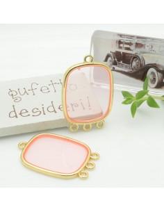 Ciondolo piastrina 3 anellini in resina vetrificata 22 x 30 mm col rosa antico per orecchini collana fai da te