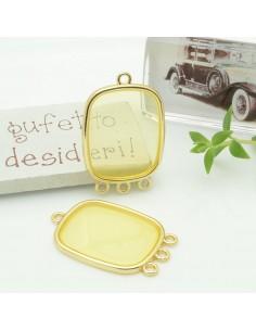 Ciondolo piastrina 3 anellini in resina vetrificata 22 x 30 mm col giallo per orecchini collana fai da te