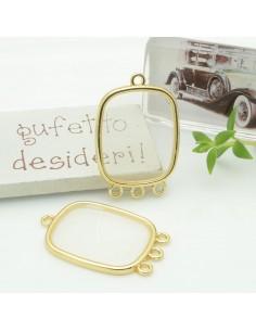 Ciondolo piastrina 3 anellini in resina vetrificata 22 x 30 mm col trasparente per orecchini collana fai da te