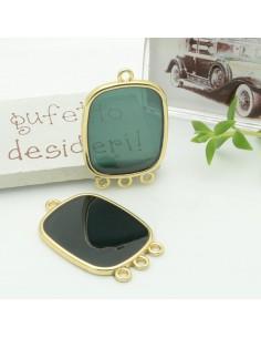 Ciondolo piastrina 3 anellini in resina vetrificata 22 x 30 mm col verde scuro per orecchini collana fai da te