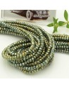 filo cristalli 2 x 3 mm colore col verde metalic cammello sfaccettato e briolette 200 pz per le tue creazioni