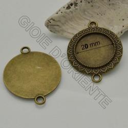 Base CIONDOLI CONNETTORI Cabochon 29 x 37 mm interno 20 mm colore bronzo in metallo 2 pz per bigiotteria